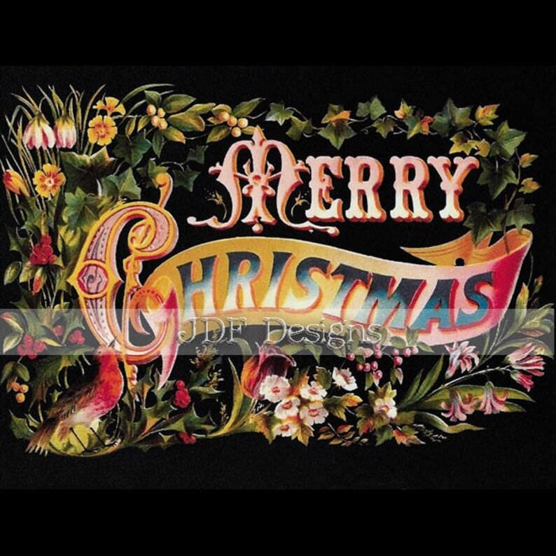 Instant Digital Download Vintage Antique Graphic Merry image 0