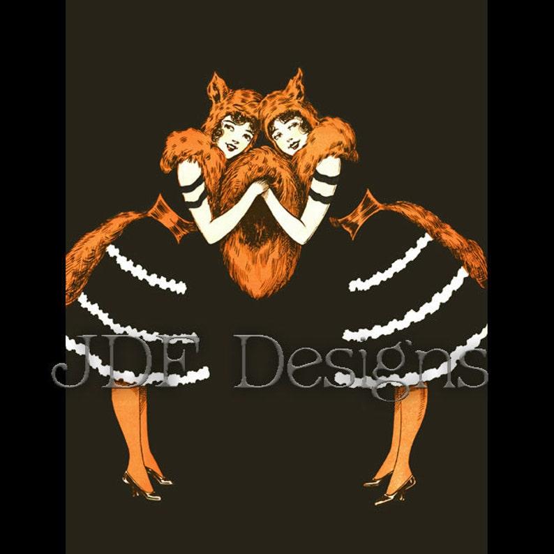 Instant Digital Download Vintage Ephemera Foxy Ladies Fox image 0