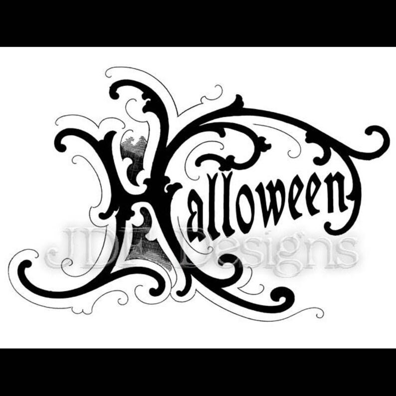 Instant Digital Download Vintage Victorian Graphic Halloween image 0