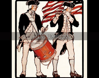 Instant Digital Download, Antique Edwardian Graphic, Patriotic Drum & Fife, Americana, American Flag, July Fourth, 4th, Independence Day