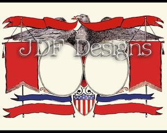 Instant Digital Download, Vintage Victorian Graphic, Patriotic Eagle Layout Banner, Printable Image, Scrapbook, Americana Shield July Fourth