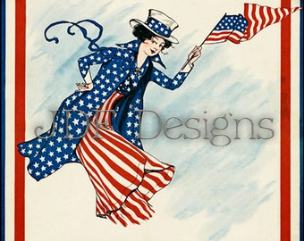 Instant Digital Download, Vintage Graphic, Patriotic Woman with Flag in Stars Stripes Costume, Printable Image, Scrapbook, Americana