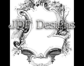 Instant Digital Download, Victorian Era Graphic, Ornate Decorative Frame, Printable Image, Scrapbook