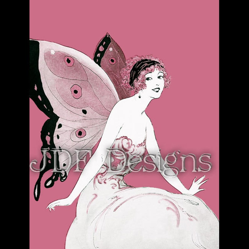 Instant Digital Download Vintage Graphic Pink Fairy with image 0