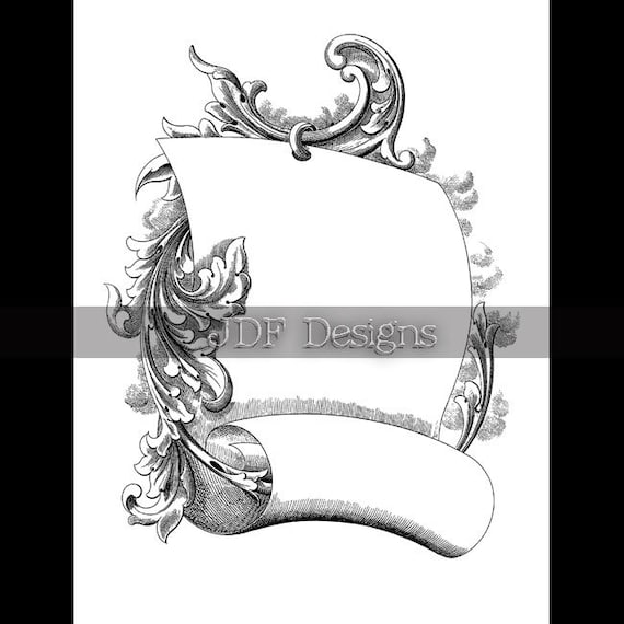 Antique Scroll Line: Instant Digital Download Antique Victorian Graphic Scroll
