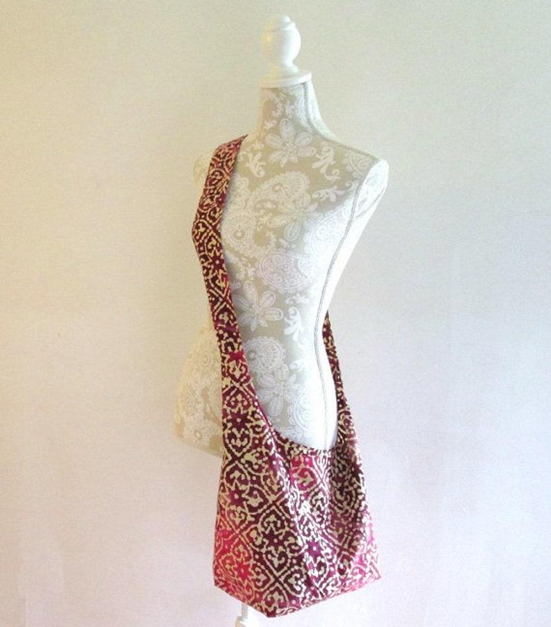 ff3da5cef8 Boho Hippie Cross Body Bag Pink and Purple Batik Sling Tote