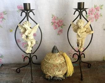 Cherub Candle Sticks,Candle Holders, Angel, Farmhouse Decor,Country French Home Decor, , Cherubs, Shabby Chic Decor - trinket box