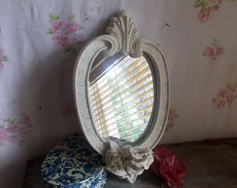 Wall candleholder with oval mirror, Shabby Chic, Elegant, Wall candleholder, Mirrored Candleholder, Old White