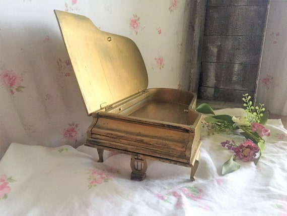 Vintage Gold Gilt wooden piano jewelry box, piano