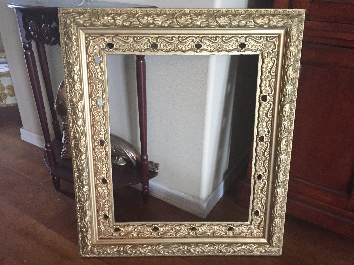 Antique Ornate Gold Gesso Wooden Frame Large 27 X 31 Shabby Chic