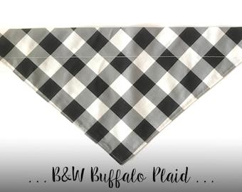 Black and White Buffalo Plaid Dog Bandana; Over the Collar Bandana: B&W Buffalo Check