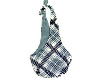 Blue Plaid Fleece Dog Sling/ Pet Pouch/ Dog Carrier: Marine Plaid