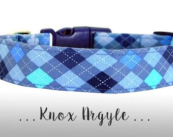 Blue Argyle Dog Collar; Plaid Dog Collar: Knox Argyle