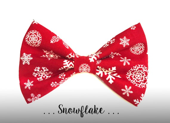 Red Snowflake Dog Bow Tie Winter Holiday Collar