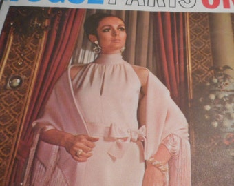 Vintage 1960's Vogue 2230 Paris Original Christian Dior Evening Dress and Stole Sewing Pattern Size 12 Bust 34