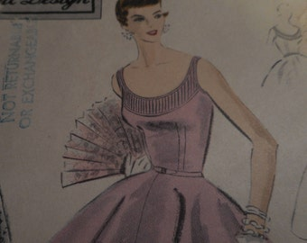 Vintage 1950's Vogue 4443 Special Design Evening Gown Sewing Pattern, Size 18 Bust 36