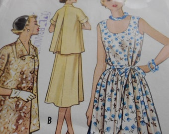 Vintage 1950's McCall's 9424 Maternity Dress and Jacket Sewing Pattern Size 14 Bust 32