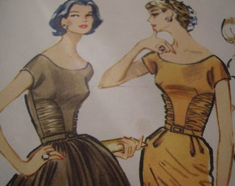 Vintage 1950's McCall's 4406 Dress Sewing Pattern, Size 12, Bust 32