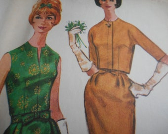 Vintage 1960's McCall's 9809 Dress and Jacket Sewing Pattern Size 14 Bust 34