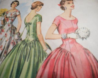 Vintage 1950's McCall's 3537 Dress Sewing Pattern Size 14 Bust 32