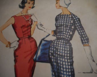 Vintage 1950's McCall's 4472 Dress and Jacket Sewing Pattern Size 16 Bust 36