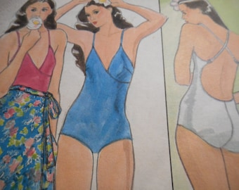 Vintage 1970's Butterick 4287 Swimsuit and Skirt Sewing Pattern Size 12 Bust 34