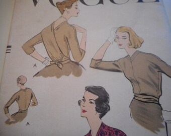 Vintage 1950's Vogue 9278 Wrap Blouse Sewing Pattern, Size 14 Bust 34
