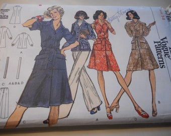 Vintage 1970's Vogue 8766 Dress, Tunic and Pants Sewing Pattern Size 14 Bust 36