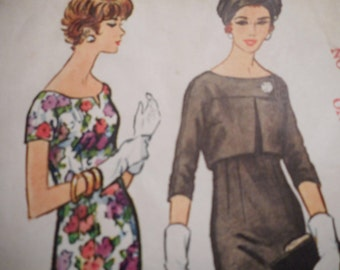 Vintage 1950's McCall's 4835 Dress and Jacket Sewing Pattern Size 16 Bust 36