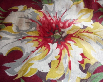 STUNNING Vintage 1940's, 50's or earlier Red, Burgandy, Green, Grey, Yellow Floral Barkcloth Era Fabric, 3 yards plus