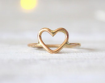 14kt Gold Filled Open Heart Ring//Handcrafted//Inspirational Jewelry