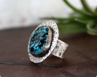 Kingman Turquoise Sterling Silver Ring//Handcrafted//One of a kind//Adjustable