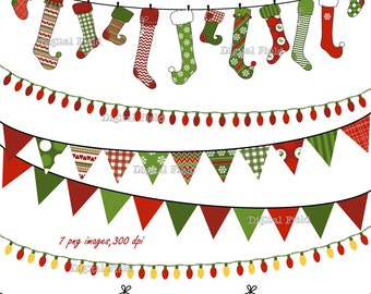 Christmas Buntings Stockings Lights Clip Art Set Red Green Patterned Holiday Printable Digital Clipart