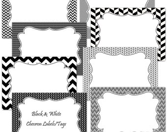 Black and white chevron printable digital journaling cards, tags or labels clip art set - instant download