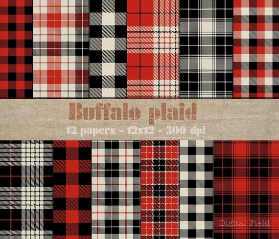 Black//White Buffalo Plaid Woodland Plaid 12x12 Scrapbook Paper 10 Sheets