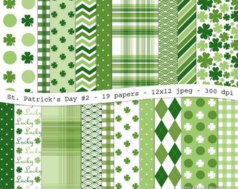 St. Patrick's Day No.2 digital scrapbooking paper pack - 19 jpeg green printable papers, 12x12, 300 dpi - instant download