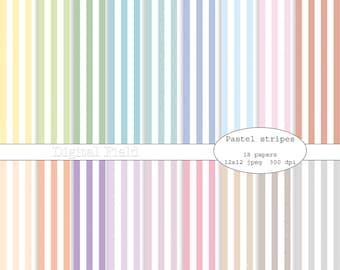 Pastel stripes digital scrapbooking paper pack - 18 printable jpeg papers, 12x12, 300 dpi - instant download