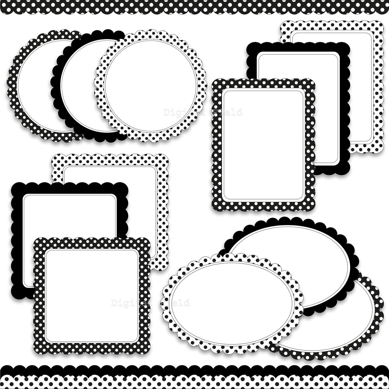 Digital Scalloped Labels Frames and Borders Clip Art Set | Etsy