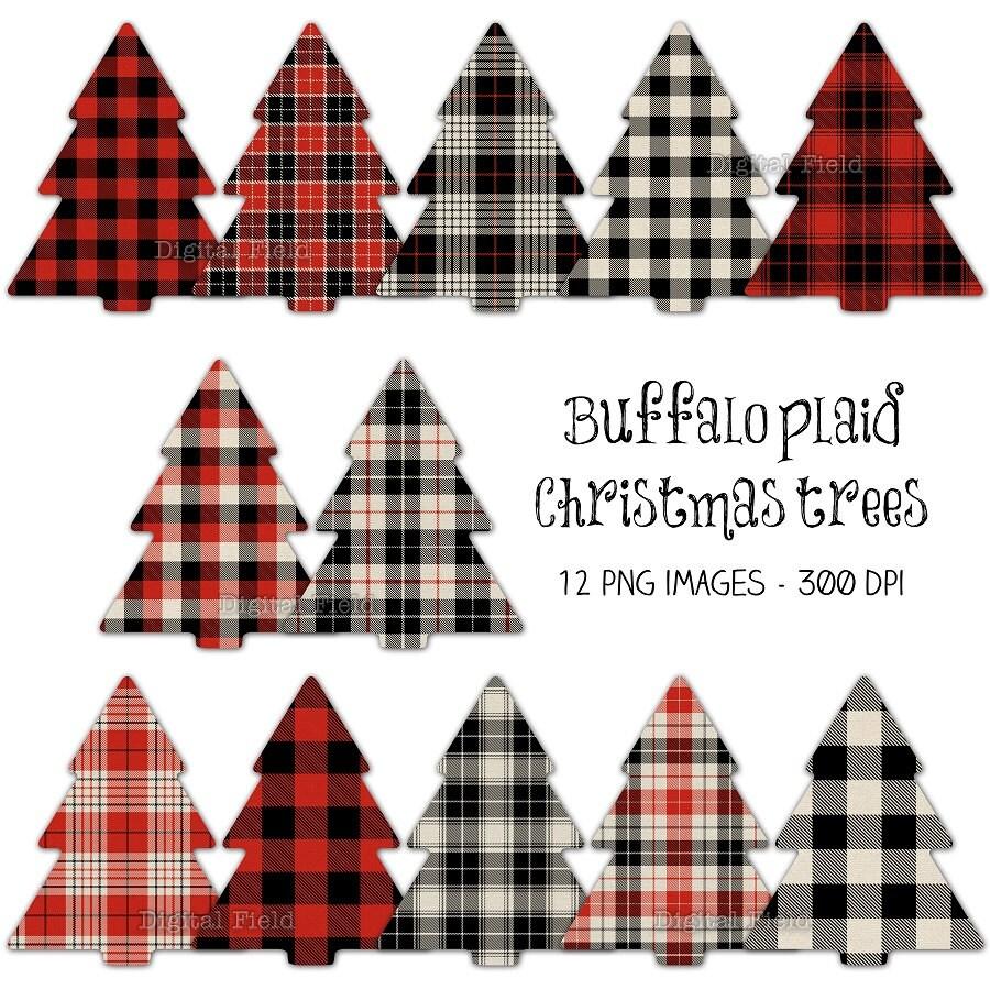 Plaid Christmas Tree Clipart