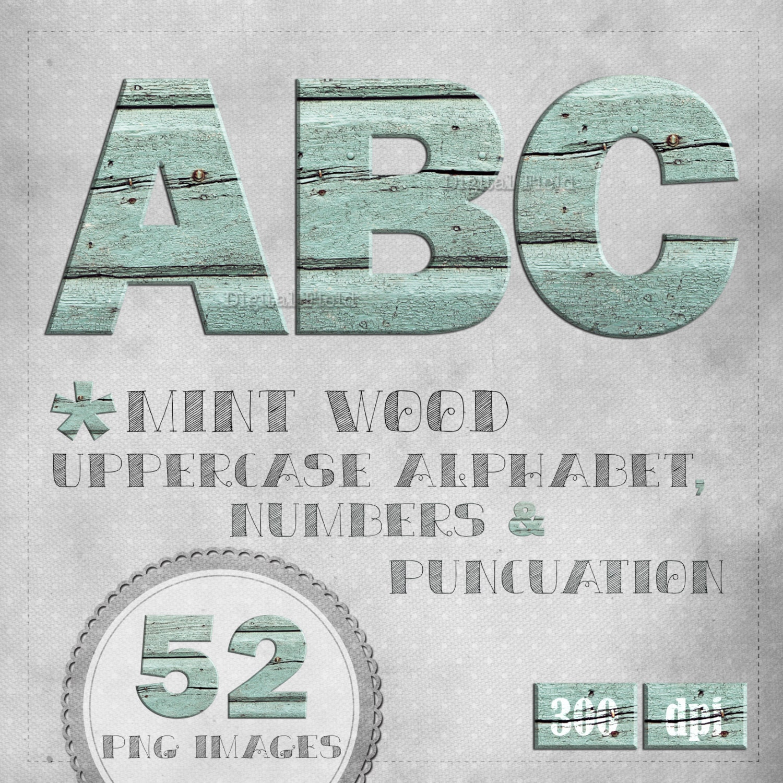 Wood alphabet clip art set mint crackled paint printable   Etsy