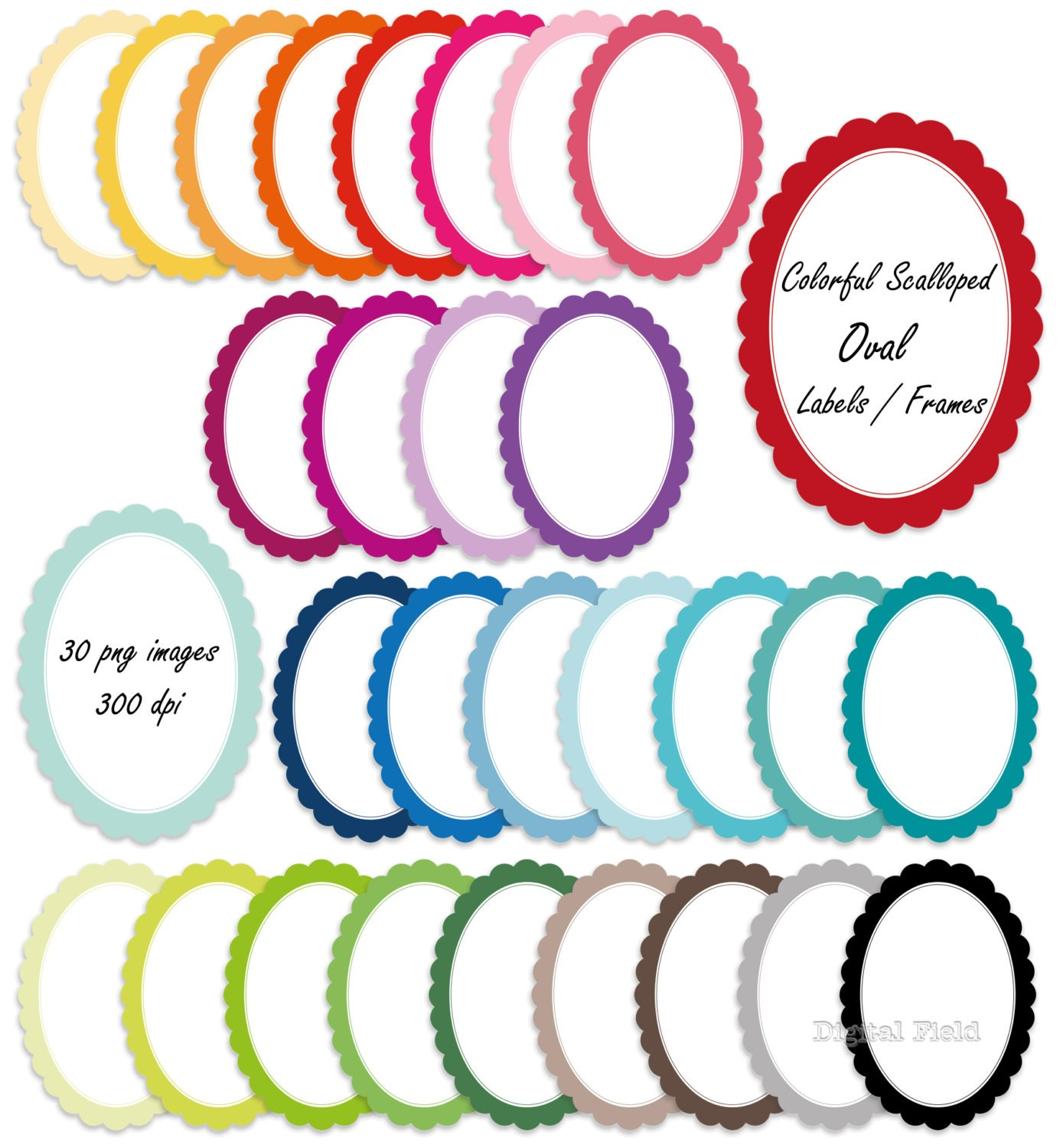 graphic regarding Printable Oval Labels known as Colourful scalloped oval labels / frames clip artwork mounted - printable electronic clipart - fast down load