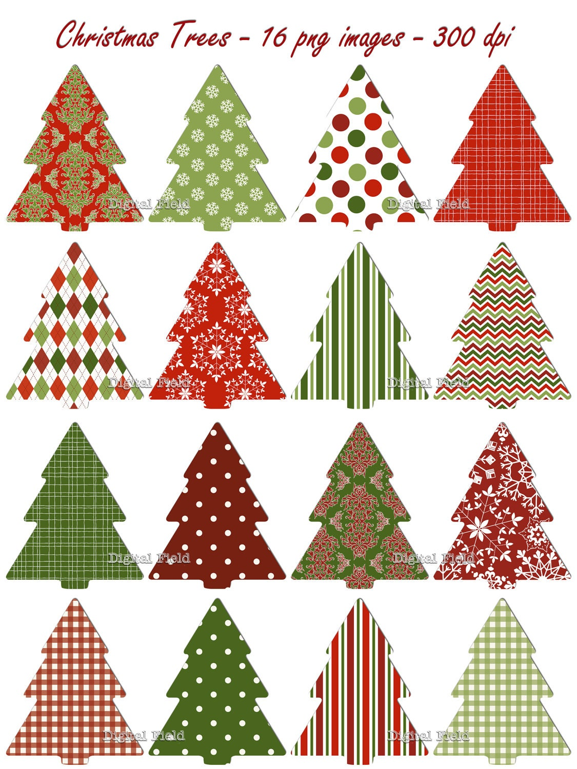 Christmas Tree clip art set red green patterned holiday | Etsy