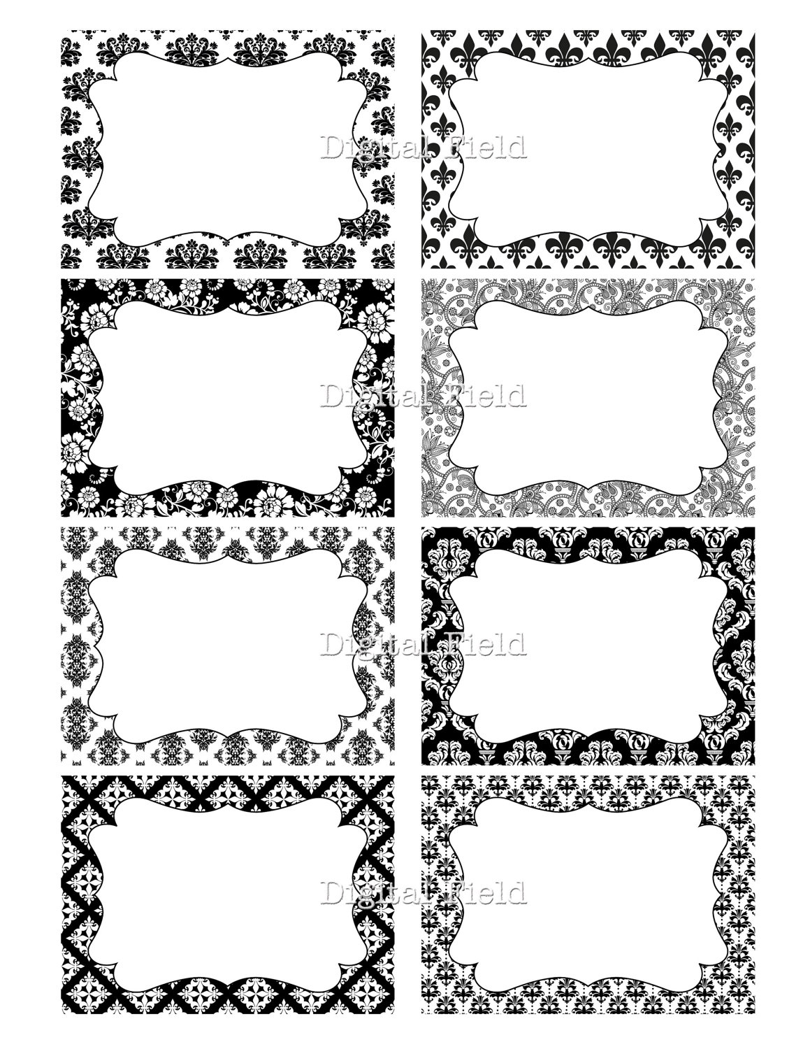 Black And White Damask Floral Printable Digital Journaling