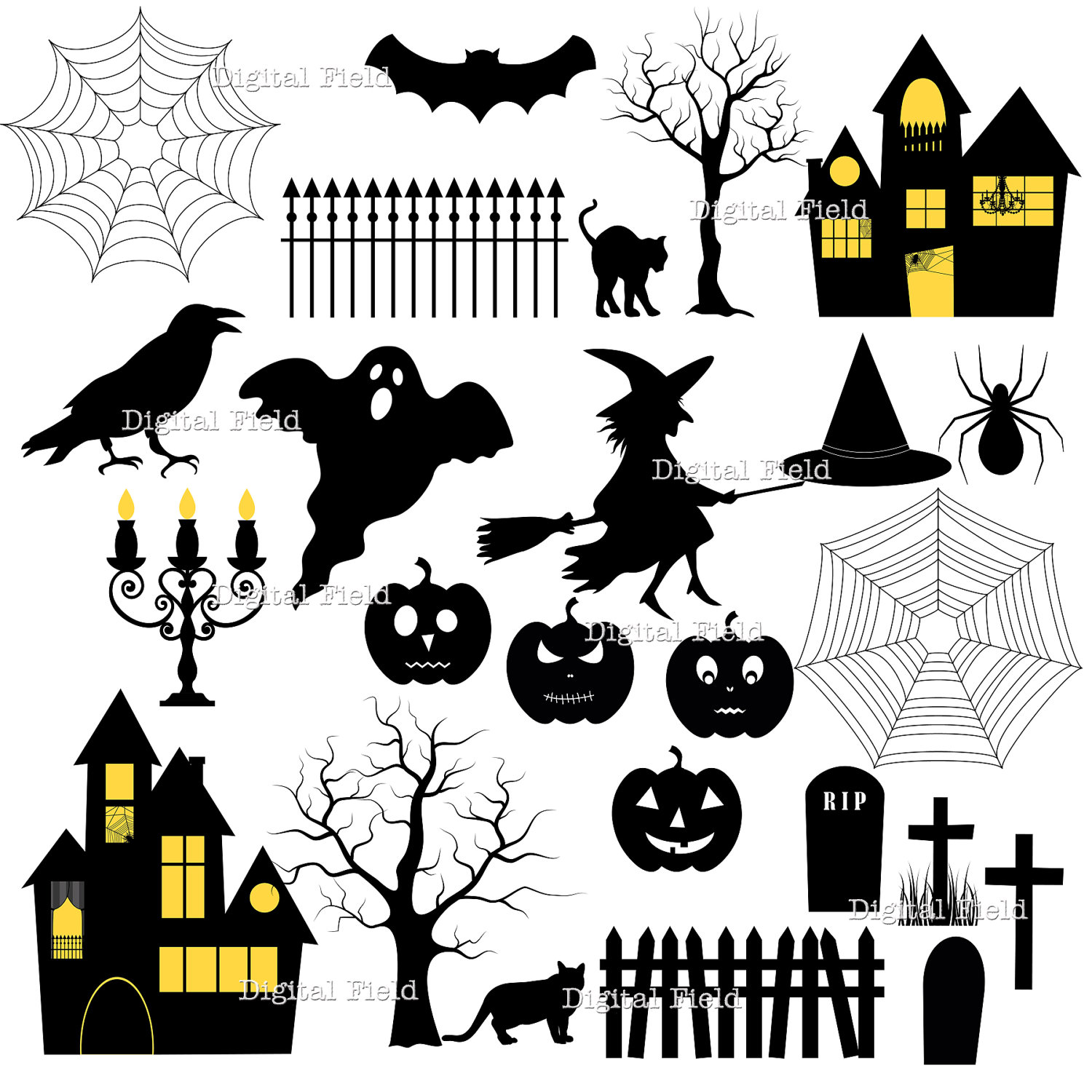 Printable Tree House Plans: Halloween Silhouette Clip Art Set Halloween Printable