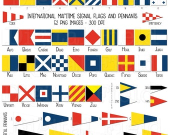 International maritime signal flags and pennants clip art set - nautical printable digital clipart - instant download