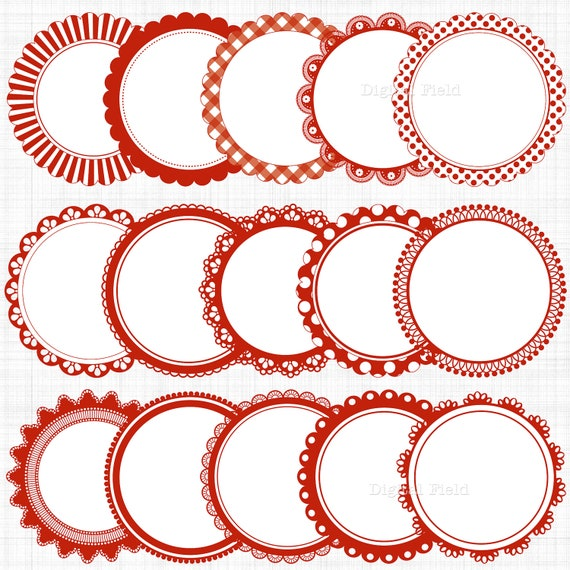 Red white scalloped circle frames labels clip art set | Etsy