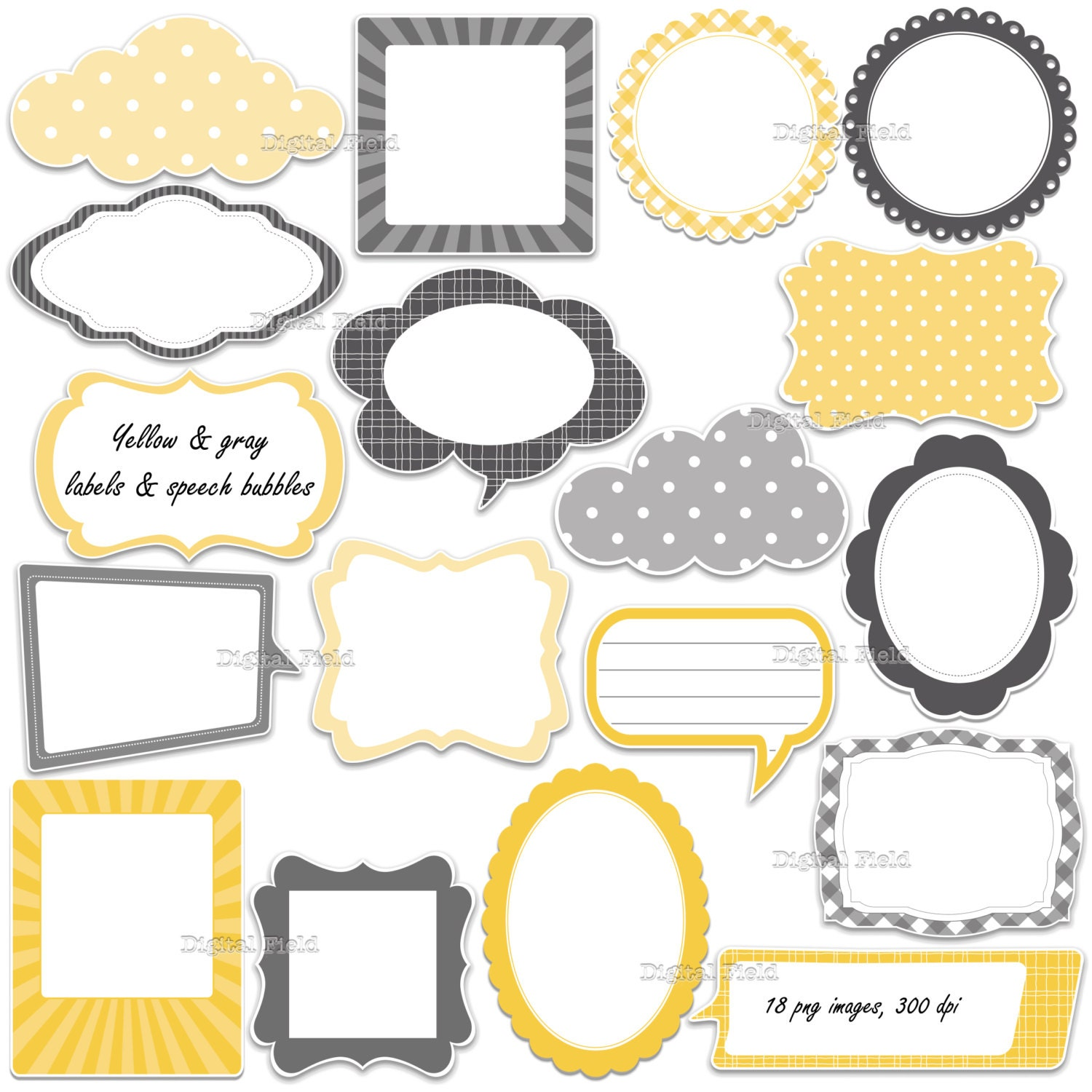 Yellow And Gray Labels Frames And Speech Bubbles Clip Art Etsy
