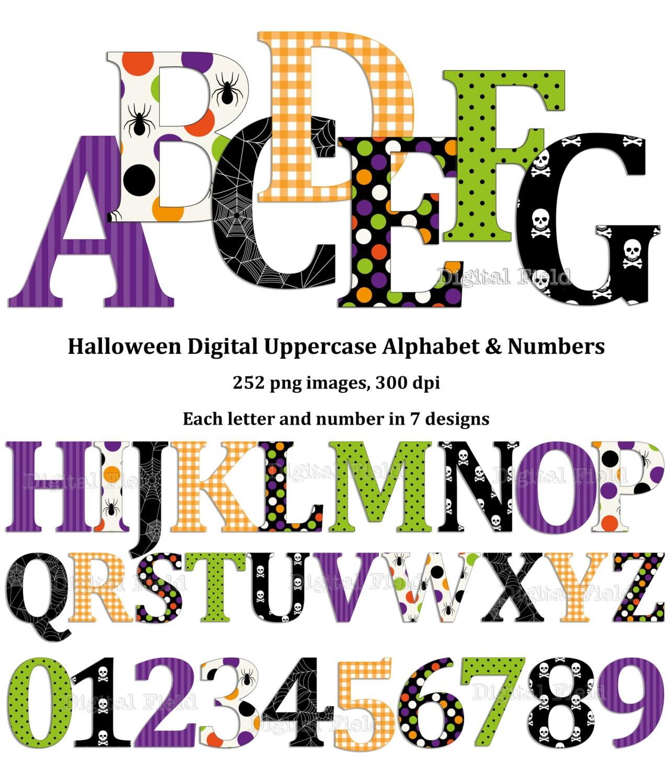 Halloween uppercase alphabet and number clip art set black ...