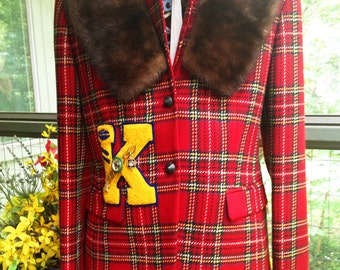 Peri-Wool Red Plaid Blazer with Bakelite Buttons, Vintage Football Letterman Patch, Equestrian Bar Pin, Columbia Award, Vintage Fur Collar