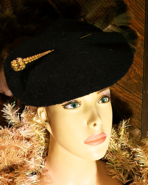 Vintage Black Wool Beret Beret DeLuxe Inported fro
